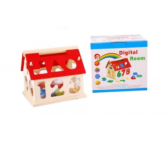 Casa din lemn cu forme geometrice si cifre - Jucarie puzzle educativa pentru copii!