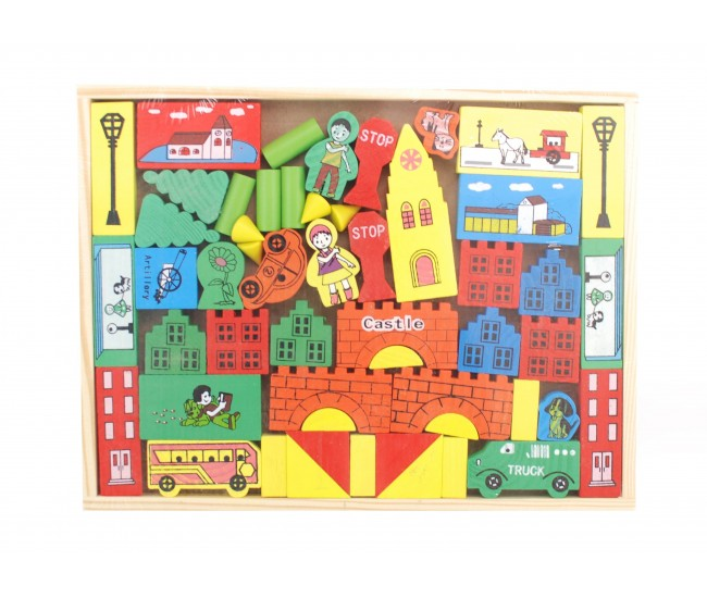 Cuburi din lemn pentru copii cu forme geometrice, figurine
