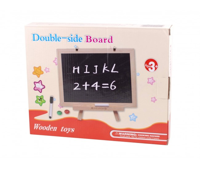 Tablita de jucarie copii din lemn, cu 2 fete, marker, creta si burete