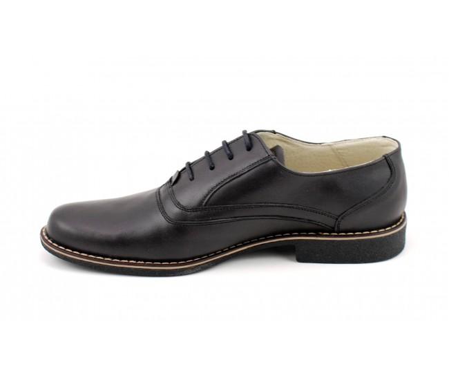 Pantofi barbati piele naturala (negru patinat) casual-eleganti - Made in Romania P37NN
