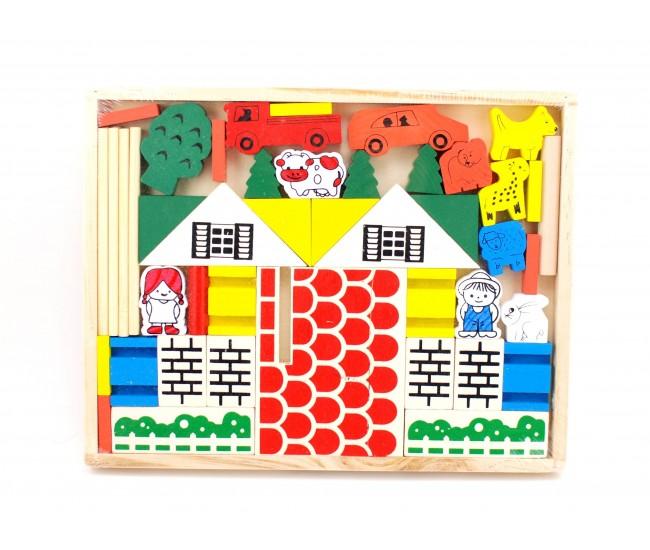 Joc constructiv,  cuburi din lemn -  Jucarie creativ educativa copii TW04