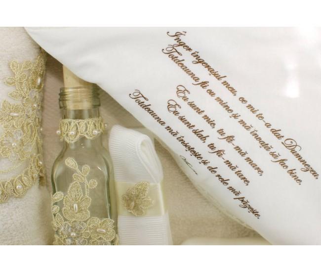 Trusou Botez crem cu broderie royal pentru fetite si baieti - set complet pentru biserica TRB507