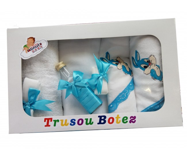 Trusou botez fetite si baieti cu Bugs Bunny - set personalizat biserica TB25ALINUTA