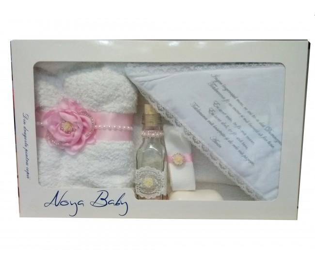 Trusou Botez pentru fetite cu trandafir - set complet pentru biserica TR5080