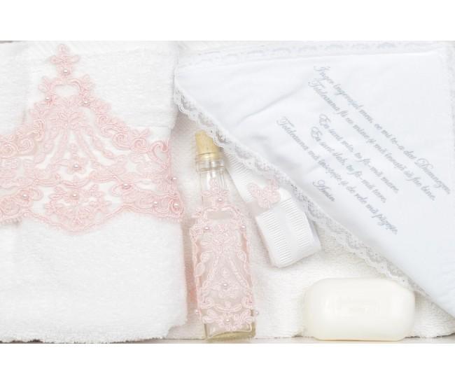 Trusou Botez roz cu broderie royal pentru fetite - set complet pentru biserica TRB514ROZ