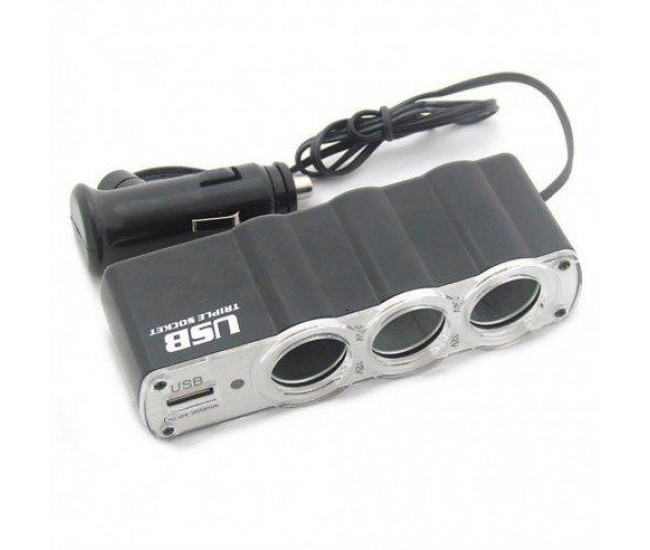 Adaptor USB Auto bricheta cu 3 porturi si iluminare, 12V/24V - WF0120