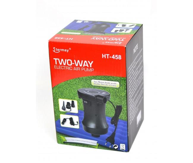 Pompa electrica de mare putere, pentru umflat si dezumflat saltele, piscine, colace, 12V / 220V - HT458