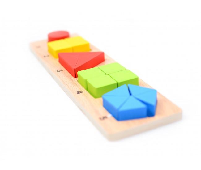 Sortator din lemn, Jucarie educativa pentru copii cu forme geometrice 15 piese - 22261472A