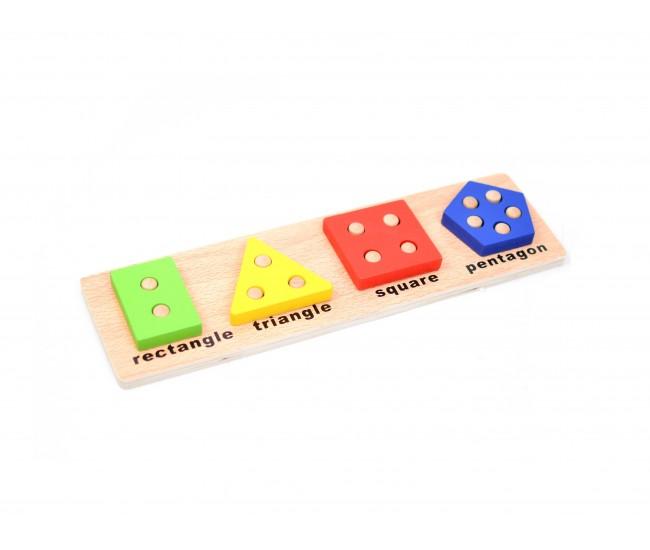 Sortator din lemn, Jucarie educativa pentru copii cu forme geometrice - 22261472B