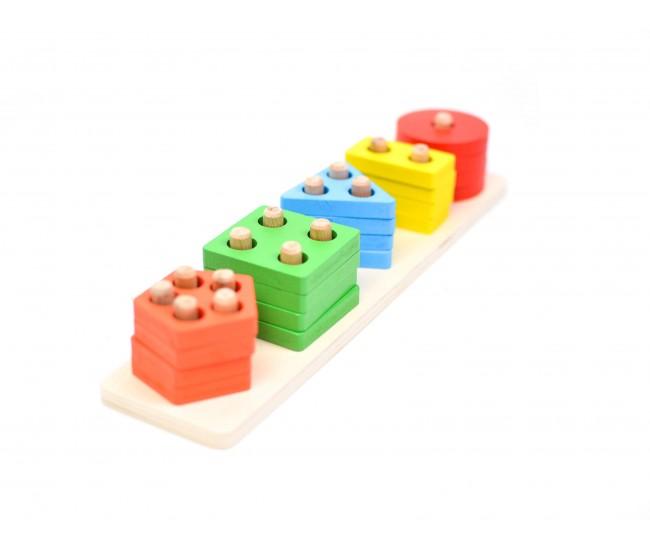 Jucarie creativa de lemn cu forme geometrice - Distractie pentru copii!