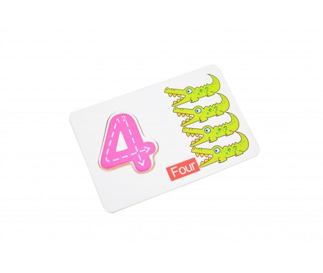 Sortator din lemn tip puzzle cu cifre, joc de educativ pentru copii - 22200016