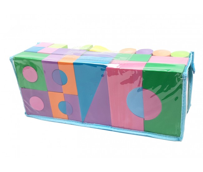 Gentuta cuburi si forme geometrice colorate din burete - Set jucarie 50 piese