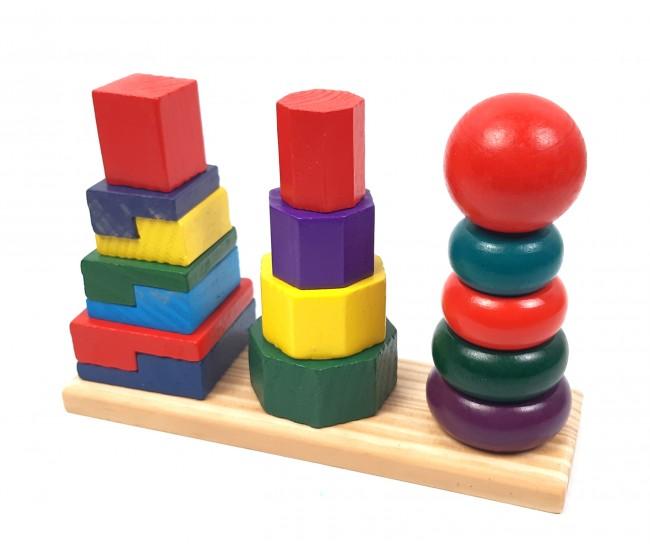 Jucarie din lemn cu forme geometrice - Joc de logica si indemanare - 5431R