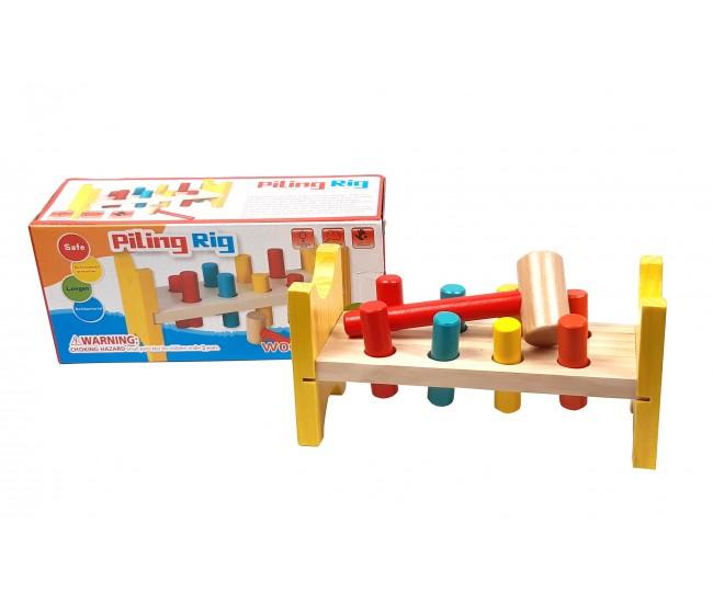 Jucarie multicolora din lemn cu cilindri si ciocan - D8TAN43