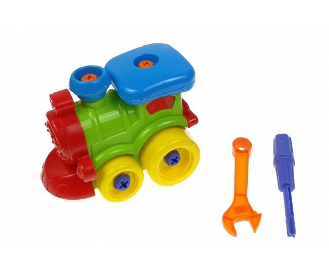 Locomotiva de construit cu surubelnita si cheie, jucarie educativa, creativa pentru copii 6007