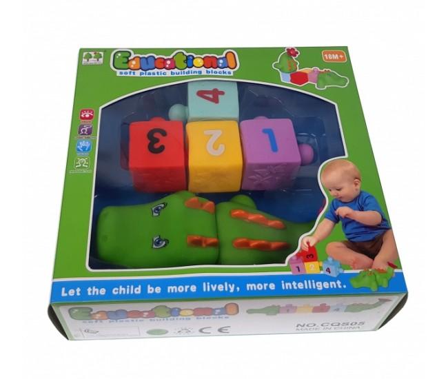 Joc de construit din cauciuc, jucarie cu crocodil pentru copii - CQS05