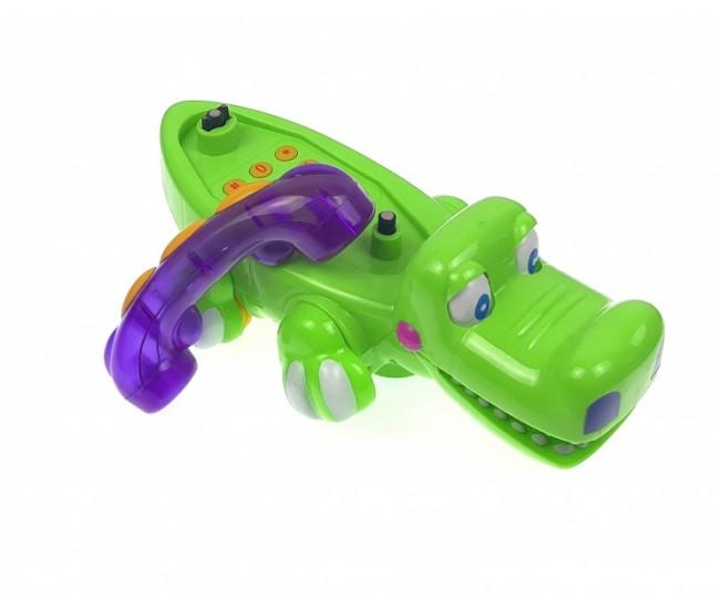 Telefon de jucarie pentru bebelusiin forma de crocodil de la 0-1-3 ani cu melodii si lumini Q88