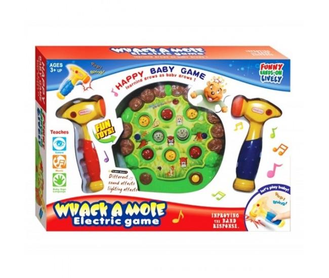 Joc distractiv cu ciocane si cartite pentru copii, jucarie cu sunete si lumini, Whack a Mole - 616B