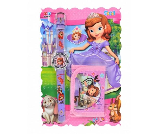 Set ceas pentru copii cu Sofia + portofel cadou - COCO6635