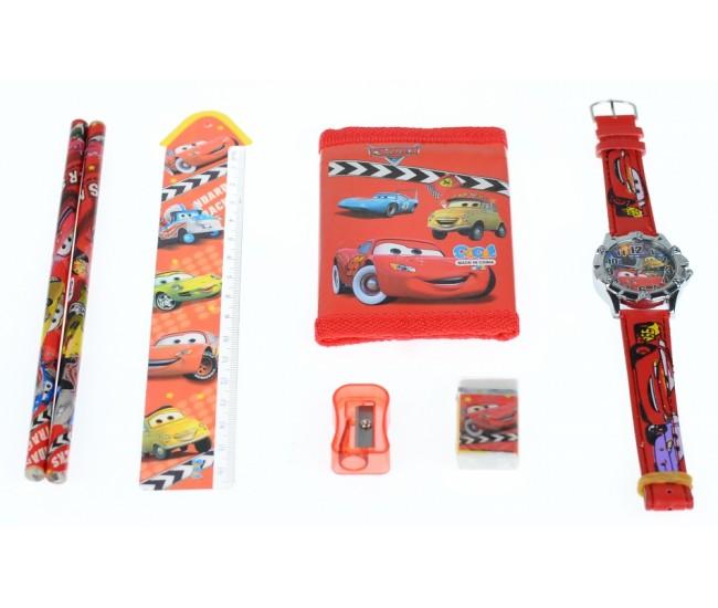 Set ceas pentru copii cu Cars + portofel, creioane, ascutitoare, rigla si guma - COCO8011614