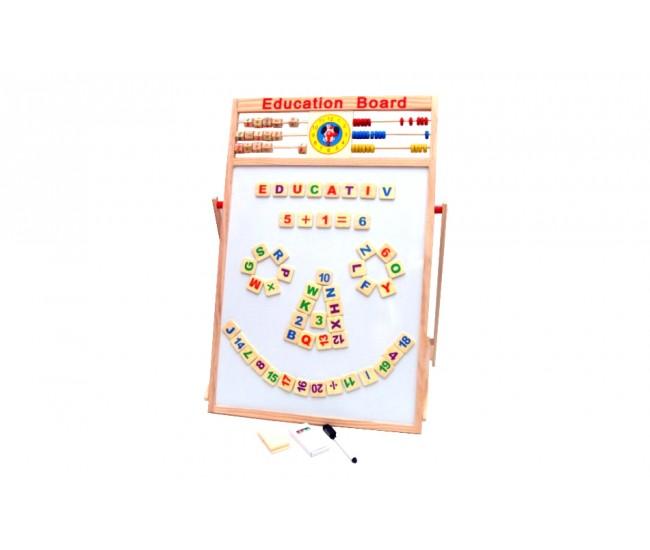 Tabla din lemn pentru desen (5in1) - calculator, numaratoare, ceas si tabla magnetica. Super atractiva!