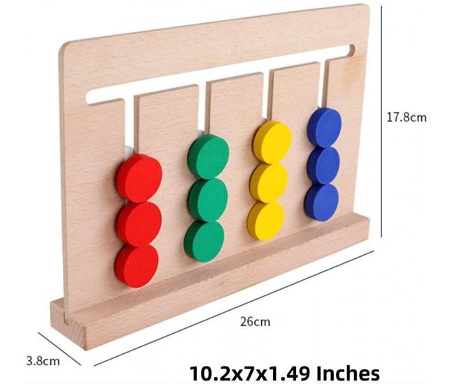 Joc sortator 4 in linie, din lemn, jucarie cu educativa cu 18 carti, 00334-1103070