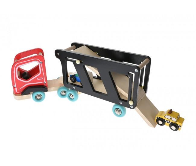 Jucarie creativa din lemn, Trailer cu masinute - 1103074A