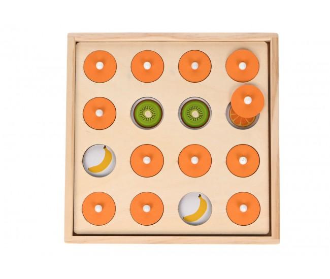 Tabla de joc 2 in 1, joc de memorie si joc de creativitate, din lemn - I242