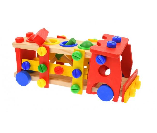Camion de lemn, jucarie de construit, cu ciocan si surubelnita - 1103074