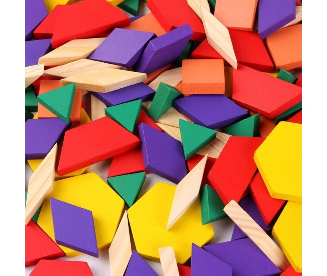 Joc educativ lemn, tangram 125 piese, Puzzle Blocks multicolor - 22200044