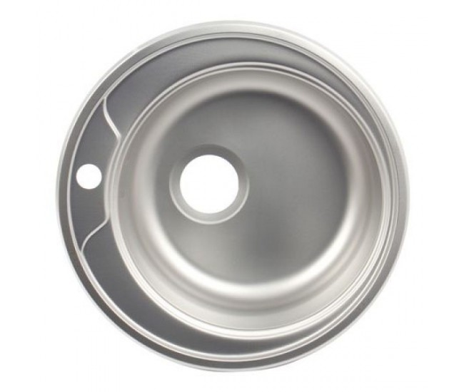 Chiuveta bucatarie rotunda, Diametru 48 cm, Inox, Finisaj anticalcar, Pentru blat, ZLN6300I