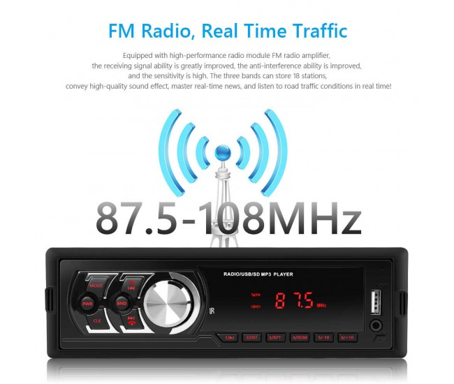 Radio de masina USB, SD, ecran LED rosu - 1781E
