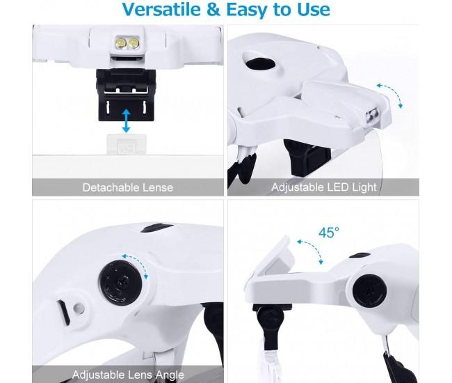 Lupa de cap cu lumina si lentile interschimbabile, acumulator reincarcabil - 9892B2C