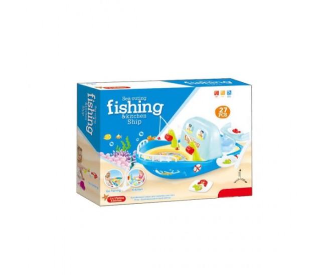 Joc interactiv de pescuit cu barcuta, jucarie cu undite, pestisori, sunete si lumini, 88995