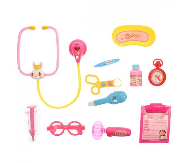 Jucarie set trusa medicala, de doctor, pentru fete, cu 12 accesorii, roz - 8352B