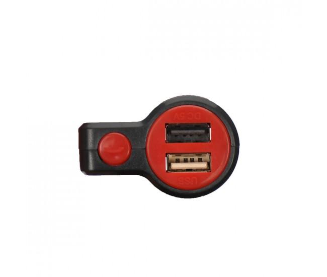 Modulator FM auto cu doua iesiri USB, card si JACK - KCB905