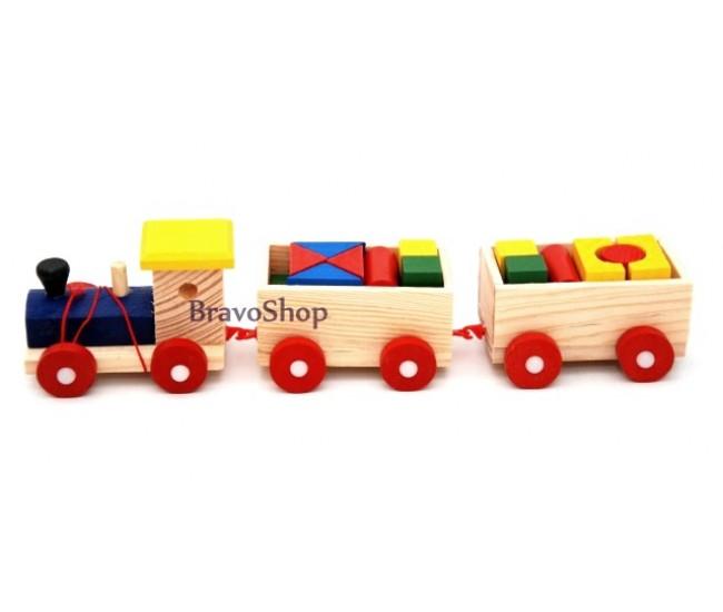 Jucarie creativa din lemn, trenulet cu vagoane si forme geometrice, 1114