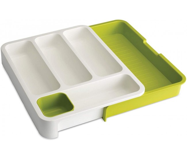Organizator extensibil pentru sertar tacamuri, din polipropilena, verde - 7024