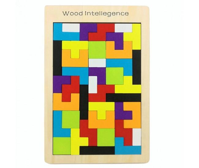 Puzzle de jucarie din lemn, tetris, potrivire dimensiuni - 22200023