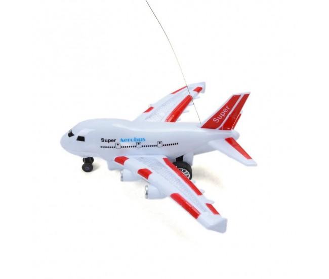 Avion cu radiocomanda, albastru cu luminite, alb - rosu, 8003R