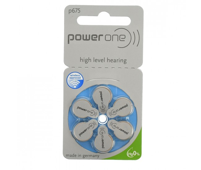 Set 6 baterii pentru aparat auditiv, 1.45 V, Power One Varta P675 - BAT0277