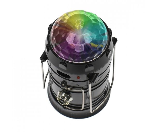 Lanterna 3 in 1, cu felinar, retractabil, lumina de veghe, glob disco rotativ, reincarcbila 220V - 5801T