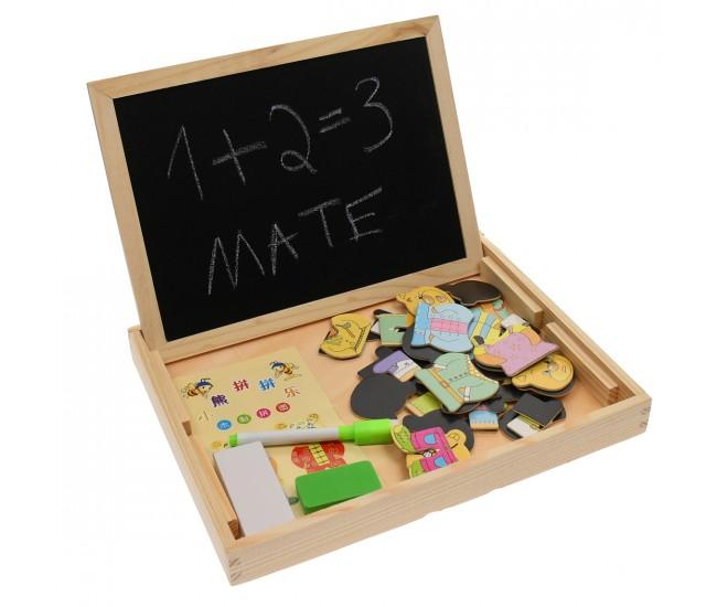 Tabla de jucarie magnetica, cu fata dubla pentru marker, creta - 3331188