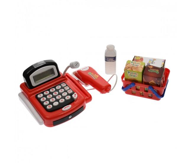 Set casa de marcat de jucarie, cu accesorii, produse, rosie, bani, sunete si lumini - 8088A1