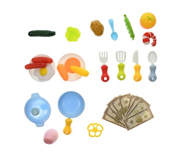 Set Bucatarie de jucarie cu mancare, ustensile, recipiente, sunete si lumini pentru copii - 889204