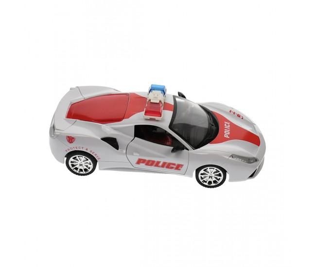 Masina de politie, de jucarie, cu sunete, luminite si radiocomanda, Rosu - 0855118