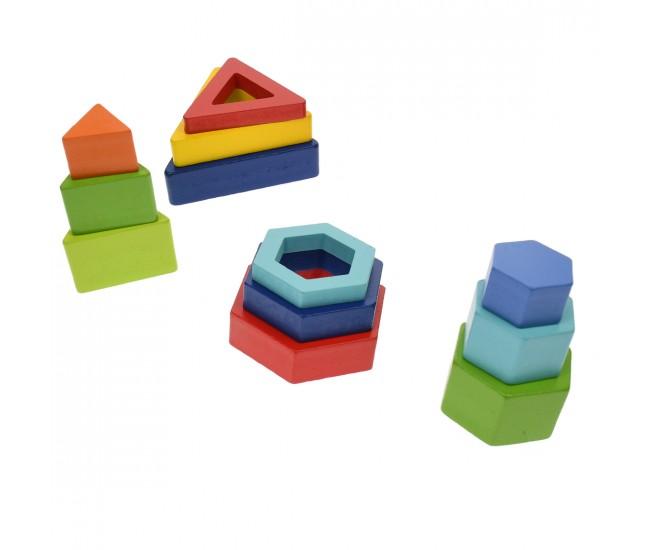 Set de construit, forme geometrice de jucarie, din lemn, 7 piese - 3315035