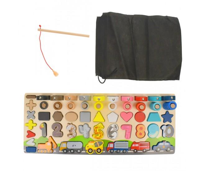 Tablita din lemn, cu numere, operatori de calcul, pesti magnetici cu undita - 22266650