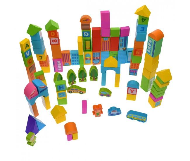 Set de construit, forme geometrice de jucarie, din lemn, 100 piese - 3331143