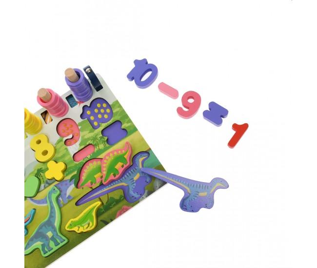 Tablita din lemn, cu numere, operatori de calcul, pesti magnetici cu undita - 3315095